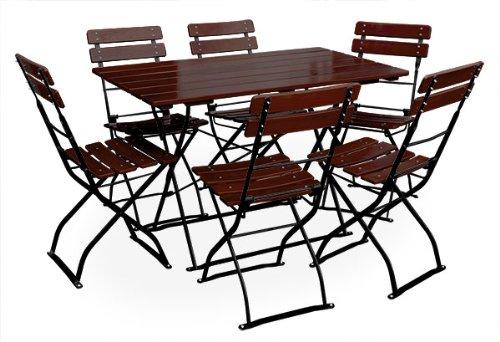 Biergartengarnitur 1x Tisch 120x70 cm & 6x Stuhl EuroLiving Edition-Classic kastanie/schwarz -