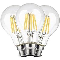 TAMAYKIM A60 6W Antico Edison Stile Filamento Lampadina LED - 3000K Bianco Caldo 600 lumen - 6W equivalente a 60W - Attacco B22 - 360° Angolazione Fascio Luce - Non Dimmerabile - 3 Pezzi