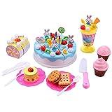 Smibie Pastel de Cumpleaños Juguete para Cortar Set de Juguete de Comida con Postre Frutas Cookies Cupcake Regalo de Navidad Reyes Magos para Niños (Azul 70pcs)