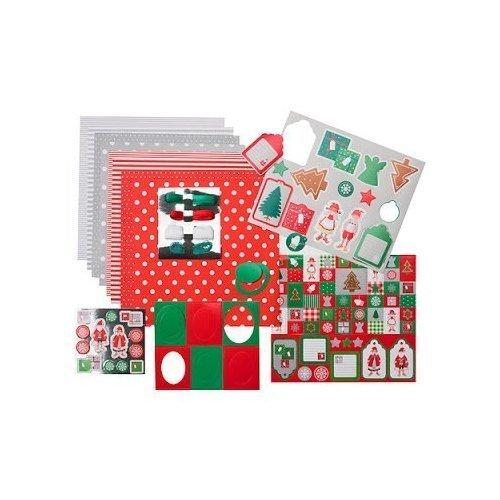 """IKEA Weihnachts-Bastelset """"Frusen"""" 104-teilig - verschiedene weihnachtliche Motive - Schleifen, Papier, Etiketten, Anhänger, Aufkleber, Rahmen und Bänder"""