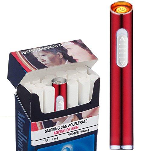 Auratrio Mini USB Elektronisches wiederaufladbar Feuerzeug Stabfeuerzeug Winddicht und Flammenloses, Kein Gas oder Benzin, Rot