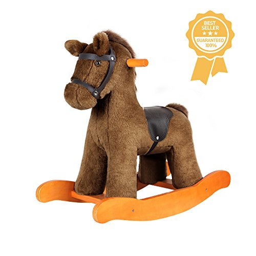 Labebe Baby Rocking Horse Wooden, Plush Rocking Horse Toy, Brown Knight Rocking Horse with Saddle for Baby 1-3 Years, Toddler Rocker/Child Rocking Horse/Traditional Rocking Horse/Vintage Rocking Horse