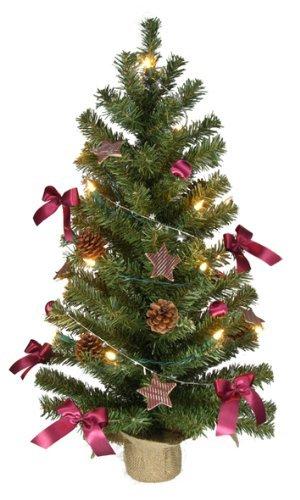 Weihnachtsbaum 75cm - komplett geschmückt mit Lichterkette, Kugeln, Sternen etc.