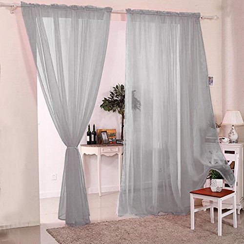 2pcs Sheer Voile Window Curtain Rod Pocket Panels Grey 5590inch For Living Room Dining
