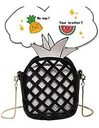 U-Wardrobe Pineapple Shape Pu Hollow Women Shoulder Cross Body Bag Clutch Purse Black Pineapple