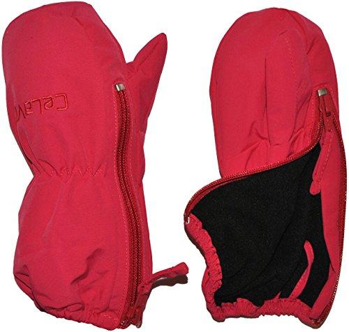 Handschuh mit langem Schaft + Reißverschluß - leicht zu öffnen - Größen: 1 bis 2 Jahre - himbeere Beere rot Thermo gefüttert Thermohandschuh - Fausthandschuh (Nylon Handschuhe Lange Rosa)