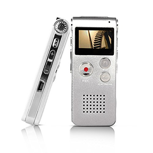 Btopllc Digital Voice Recorder Rechargeable Dictaphone Stereo Voice Recorder, Conversation and Meetings (Silver)