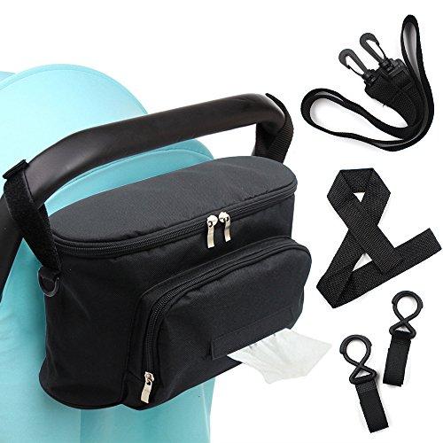 Woson borsa organizer universale per accessori bebè di 32 x 12cm da appendere al passeggino con tracolla più 2ganci e 1cinturino da polso