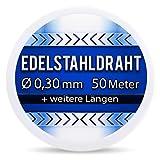 Edelstahldraht V2A - Ø 0,30 mm 50 Meter (0,12 EUR/m) Edelstahl Draht Heizdraht Schneidedraht Wickeldraht S304 AWG32 0,3