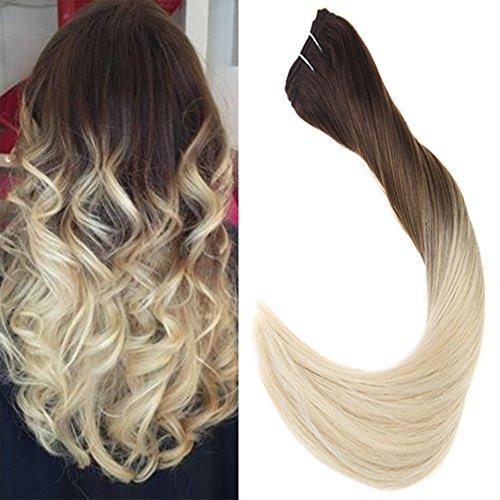 Laavoo 20pollici/50cm straight peruvian hair bundle natural weave extension capelli tessitura marrone scuro ombre bionda platino 100gr/set