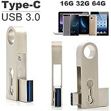 SETAYO 16GB USB-C a USB 3.0 Flash Drive Memory Stick con llavero para el MacBook Pro, Samsung Chromebook Además, Nexus 6P 5X, Google píxeles, G5 LG, HTC y Más 10 -EstiloC
