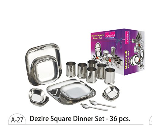 Aristo Dezire Square Stainless Steel Dinner Set, 36 Pcs 22 Gauge Premium Quality  available at amazon for Rs.3807