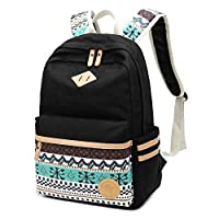 Backpacks School for Girls Bosdontek Canvas Dot Backpack Cute Lightweight Teen Girl Backpacks School Shoulder Bags