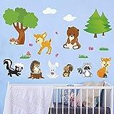 decalmile Stickers Muraux Animaux Forêt Autocollant Décoratifs Ourson Arbre Décoration Murale Chambre Enfants Bébé Salon