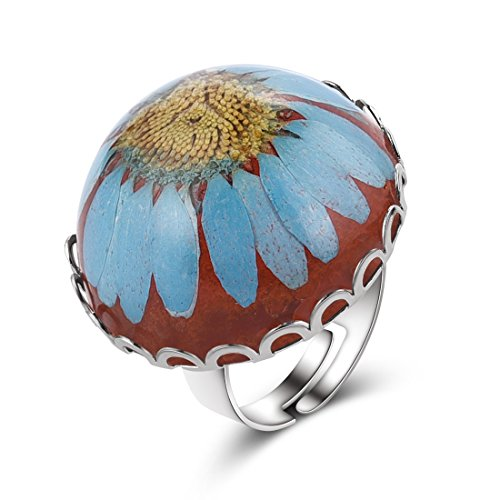 Mode gedrückt Blume Daisy Ring Eternity Band für Frauen öffnen Ringe Orange