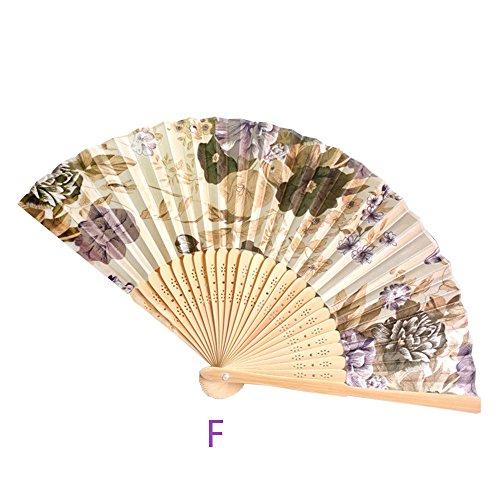 Andouy Retro Faltfächer/Handfächer/Papierfächer/Federfächer/Sandelholz Fan/Bambusfächer für Hochzeit, Party, - Holz Märchen Kostüm