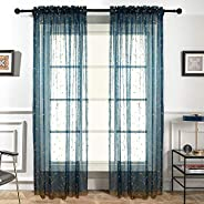 Melodieux Semi Sheer Rod Pocket Curtains for Living Room Elegant Window Voile Drapes with Gold Embroidered Flowers, W140cm x
