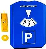 M&H-24 Parkscheibe Parkuhr fürs Auto mit Einkaufswagenchip, Reifen-Profilmesser, Gummilippe, Eiskratzer - Blau