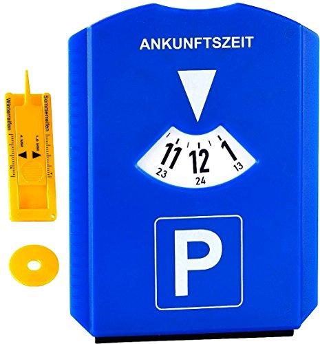 M&H-24 Parkscheibe Parkuhr fürs Auto mit Einkaufswagenchip, Reifen-Profilmesser, Gummilippe, Eiskratzer - Blau (Eis-blau-leder)
