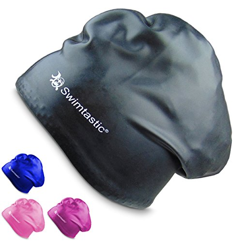 Swimtastic Bademütze speziell für langes, dickes oder lockiges Haar, Schwarz