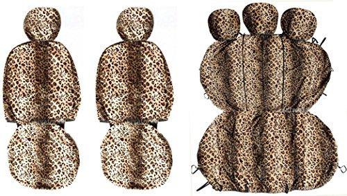 Preisvergleich Produktbild Komplettset Leopard-Fell Sitzbezug+Rückbank Autositzbezug Qualität VELBOA Stoff
