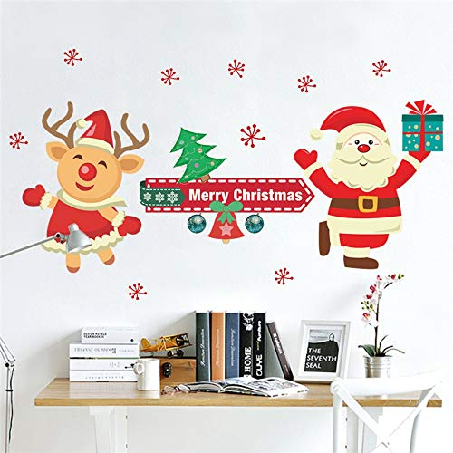 Merry Christmas Reindeer Santa Claus Wall Decals Bedroom Shop Window Home Decor Year Wall Stickers Pvc Mural Art