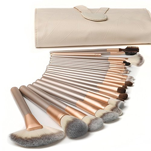 Ammiy�18 Pcs Makeup Brush Set Professional Wood Handle Premium Synthetic Kabuki Foundation Blending Blush Concealer Eye Face Liquid Powder Cream Cosmetics Lip Brush Tool Brushes Kit ( White Cream-colored Case Bag)