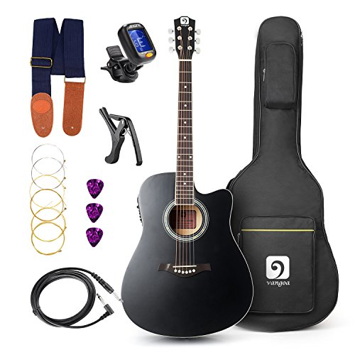 Elektro-Akustische Gitarre, 41 zoll Akustische Cutaway-Gitarremit Vorverstärker, Ausgang/Klinkenbuchse und Gitarrentasche mit Anfänger-Kit, Schwarz