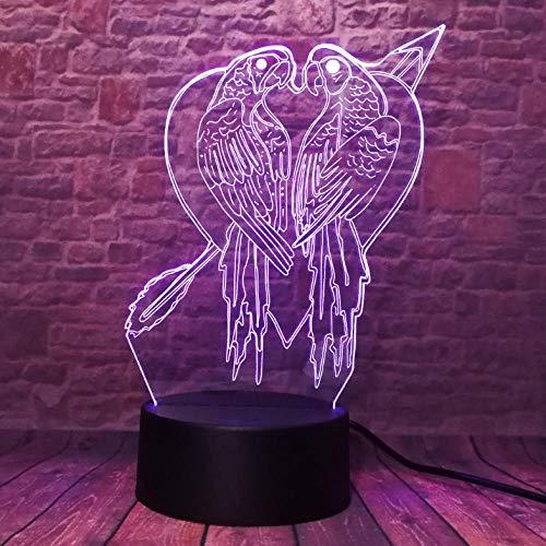 Romantisches Paar Vogel Liebe Papagei Tier 7 Farbe Auto Change Boys Baby Schlafzimmer Home Decor Nachtlicht XmasGifts -