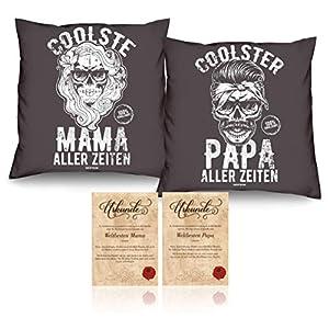 Geschenk-idee für Eltern zu Weihnachten Farbe anthrazit Mama und Papa Kissen-Duo