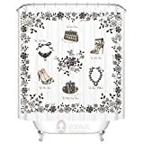 Znzbzt Lace black-and-white thick waterproof Anti-mildew shower curtain Bathroom fitting room enclosed curtain,180cm wide x200cm high