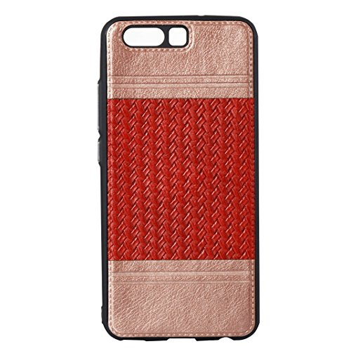 Cover Per Huawei P10, Asnlove TPU Moda Morbida Custodia Linee Intrecciate Caso Elegante Ultra Sottile Cassa Braided Stile Tessere Case Bumper Per Huawei P10 - Rosa Rosso