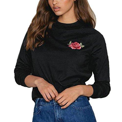 WOCACHI Damen Sommer T-Shirts Frauen Sommer Eine Rose Stickerei Bedruckte Bluse Kurzarm O-Ausschnitt Tops T-Shirt (L/36, Schwarz-11)