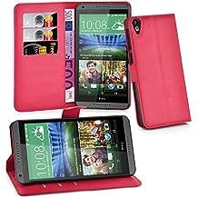 Cadorabo - Funda HTC DESIRE 820 Book Style de Cuero Sintético en Diseño Libro - Etui Case Cover Carcasa Caja Protección (con función de suporte y tarjetero) en ROJO-CARMÍN