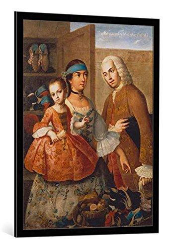 """Cuadro con marco: Miguel Cabrera """"De Espanol y Mestiza, Castiza"""" - Impresión artística decorativa con marco de alta calidad, 75x100 cm, Negro / canto gris"""