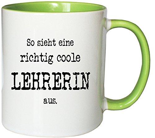 Mister Merchandise Kaffeetasse So sieht eine richtig coole Lehrerin aus. Teetasse Becher , Farbe: Weiß-Grün