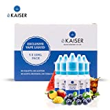 EKaiser 5er Pack E Liquid | Fav Flavours | 5 x 10ml Flaschen mit 0mg E-Liquid | Nikotinfreies eJuice für E-Zigaretten und Eshisa - Blaubeere, Wassermelone, Vanille, Cola und Mango.