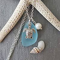 """Handmade in Hawaii, Turquoise bay blue sea glass necklace, sea turtle charm, fresh water pearl, sterling silver chain,""""December Birthstone"""", FREE gift wrap, FREE gift message, FREE shipping"""