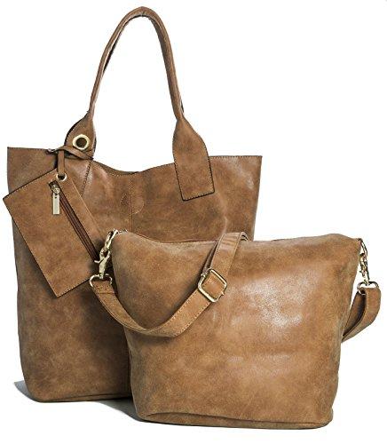 BHBS Mesdames Designer 3 en 1 fourre-Shopper et Make up à Main 44x38x10 cm (LxHxP) Pour un bronzage Moyen