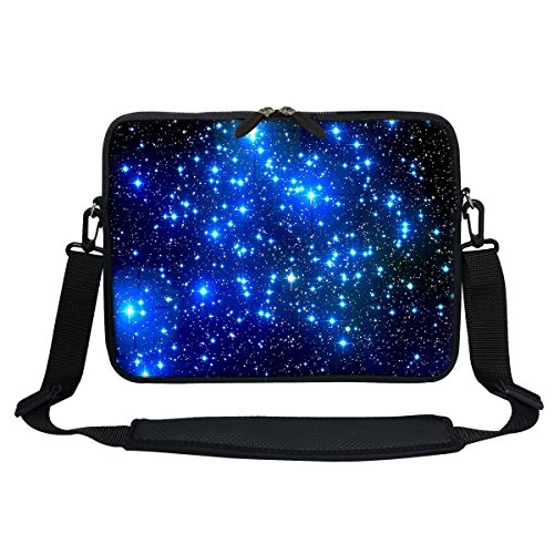 Meffort Inc 13 13.3 Inch Neoprene Laptop / Ultrabook / Chromebook Bag Carrying Sleeve with Hidden Handle and Adjustable Shoulder Strap - Galaxy Stars