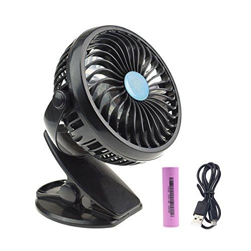 Mini USB Clip Ventilator mit Batterie Schreibtisch Ventilator USB Kühlung Ventilator mit 360 ° Auf und Ab Drehung für die Zuhause Büro Schreibtisch Fitnessstudio Camping Zelt-Schwarz (Schwarz)