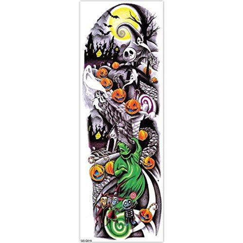 EROSPA Tattoo-Bogen temporär - Aufkleber Halloween Kürbis Hexe - 48 x 17 cm