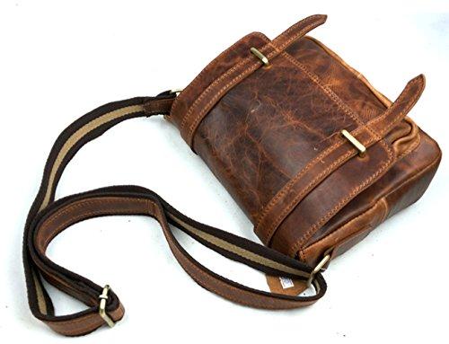 insum Herren Leder Umhängetasche Tote Messenger Bag Red Crazy Horse
