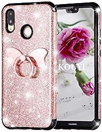 KOUYI Coque Huawei P20 Lite, [3 en 1 Hybride PC Robuste + TPU + Brillante PU] Étui Protecteur Cover Brillant Mode Créatif Conception Sparkly Coques Housse Telephone étui pour Huawei P20 Lite (Rose)