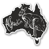 2 x Australia Vinyl Sticker Bike Laptop Car Bike Luggage Travel Kangaroo #4644 (10cm Wide x 9.2cm Tall)