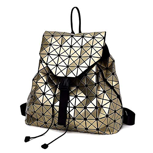 MasterShoe.Co Geometric Backpack Lingge Laser Backpacks Women Fashion Shoulder Bags Travel College Rucksack (Dark Gold)