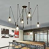 Retro Stile industriale Lampadario Spider Lamp Vintage Lampade a sospensione Nero Ferro Gabbia E27 Plafoniera Fai da te Regolabile 6 fiamme per Camera da letto Soggiorno Cucina bar Bar soffitta