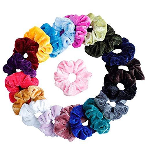TAOtTAO Samtelastische Haarbänder für Frauen Oder Mädchen Zubehör Haargummis Bindet Seile Schrubben (20 pcs) Velvet Trim Mantel