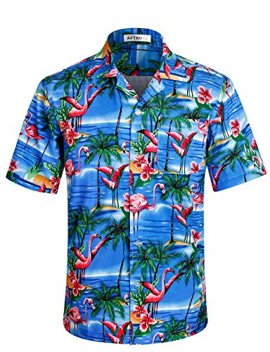 APTRO Herren Hemd Strandhemd Hawaiihemd Kurzarm Urlaub Hemd Freizeit Reise Hemd Party Hemd Flamingo Blau BT005 S