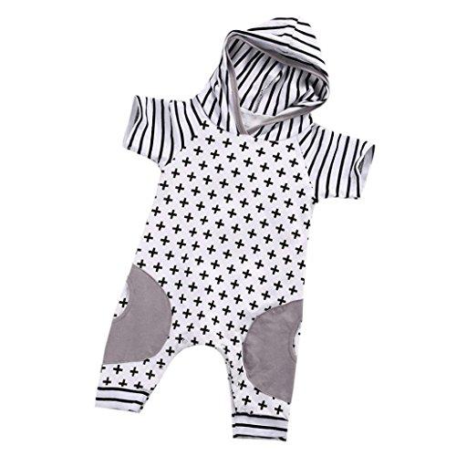 Bekleidung Longra Neugeborene Säuglings Baby Mädchen-Jungen Strampler mit Kapuze Spielanzug Kurzarm Overall Ausstattungen(0 -18 Monate) (80CM 12Monate, White) (Kreuz Brust-kragen)